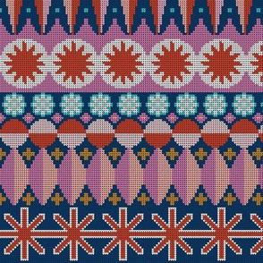 Fair Isle Castle* (Navy) ||  || faux knit knitting geometric holiday christmas pixel pixels pixelated stars snowflakes diamonds