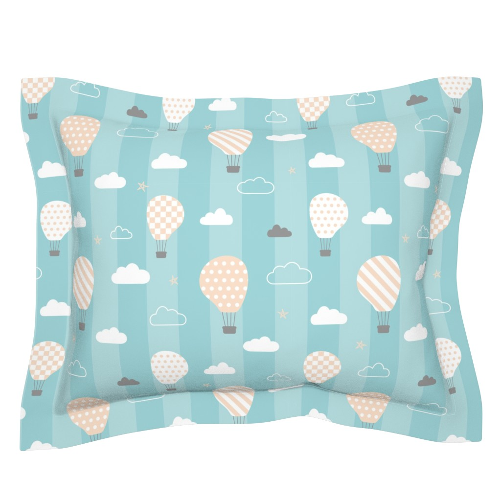 Sebright Pillow Sham featuring Sweet dreams baby's room wallpaper on blue stripes by danadu
