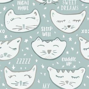 Sleepy Kitties Nursery Wallpaper // Night Night, Sleep Tight, Precious One // Gender Neutral Baby Decor