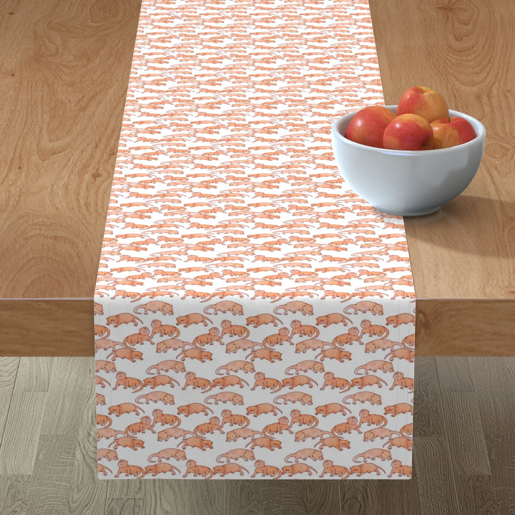 Minorca Table Runner featuring Naked Mole Rats by landpenguin