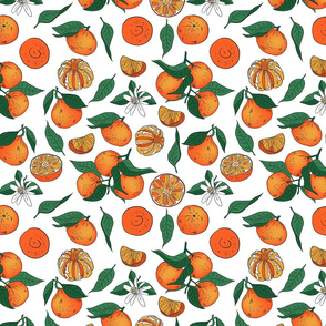 Seamless orange mandarin tangerine with leaves vector pattern.