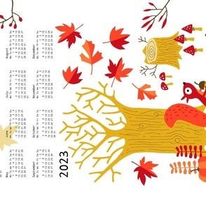 Fall squirrel Calendar 2021 tea towel (white)