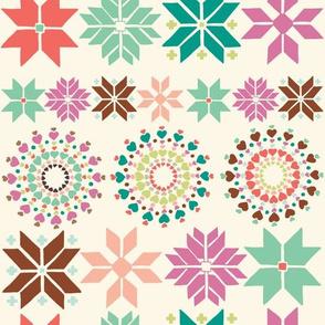 Hearts and Snowflakes Fair Isle - Coral Green Purple Brown