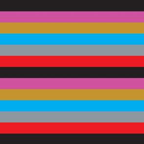 Stripes Pattern Gold Blue Pink Gray Red Black