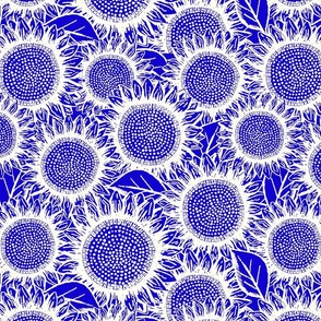 Sunflowers white on blue (large scale)