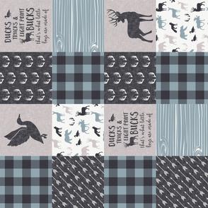 Ducks, Trucks, and Eight Point bucks - patchwork - woodland wholecloth - buffalo check dusty blue duck & buck (90)