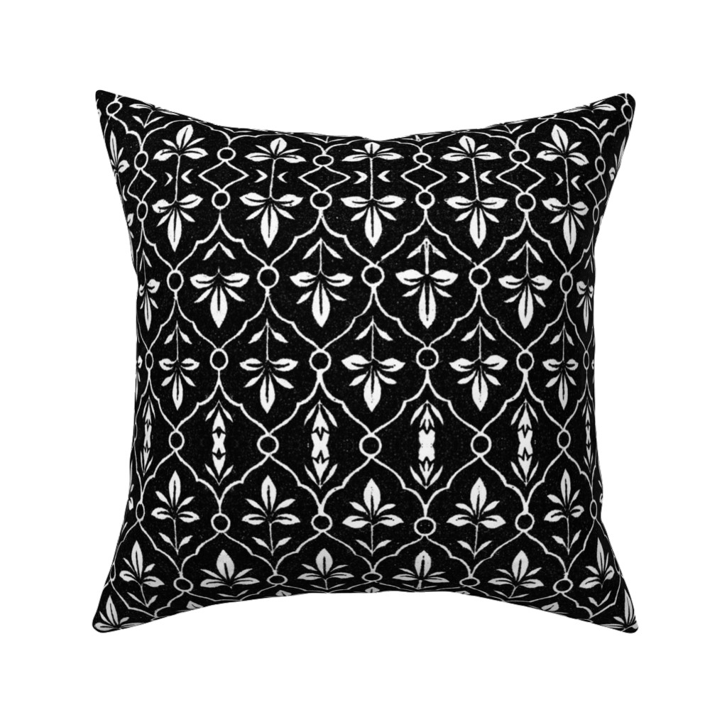 Catalan Throw Pillow featuring indo-persian black and white by hypersphere