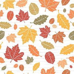 Bright + Colorful Autumn Leaves on White Shiplap Wood Background //  Sing for Your Supper Modern Farmhouse Collection // Autumn Edition