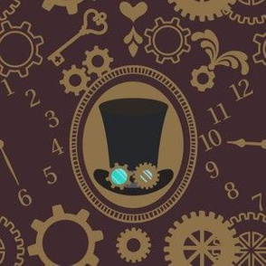"""6"""" Steampunk Hat with Gears, Hearts, Clock and Key in Dark Brown"""