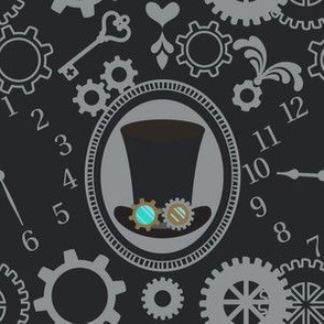 """6"""" Steampunk Hat with Cats and Clocks in Black and Gray"""