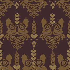 Steampunk Cat Damask with Gears and Hearts in Dark Brown