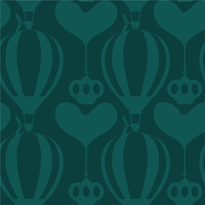 Jumbo Steampunk Balloon with Hearts and Crowns in Lagoon Green