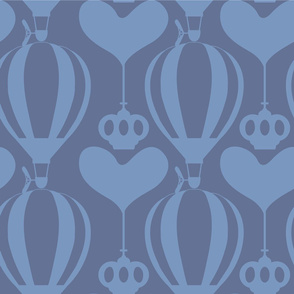 Jumbo Steampunk Balloon with Hearts and Crowns in Stone Blue