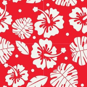 Hawaiian Christmas Floral Design with Tropical Leaves in Red and White