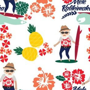 Hawaiian Christmas with Surfing Santa and Tropical Flowers in Red, Blue & Yellow