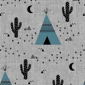 Teepee Blue - Gray Texture
