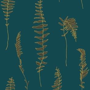Gold-green fern on emerald