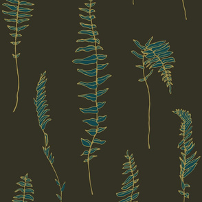 Gold-emerald fern on dark olive green