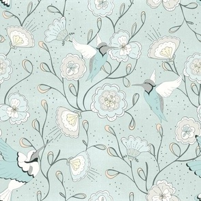 Chinoiserie Honey Bird Sky Blue