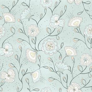 Chinoiserie floral blue breeze
