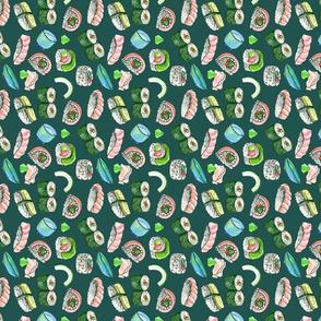 Dancing Sushi green - vertical repeat