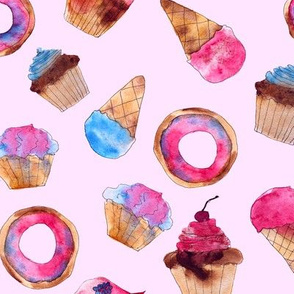 Watercolor sweets on pink