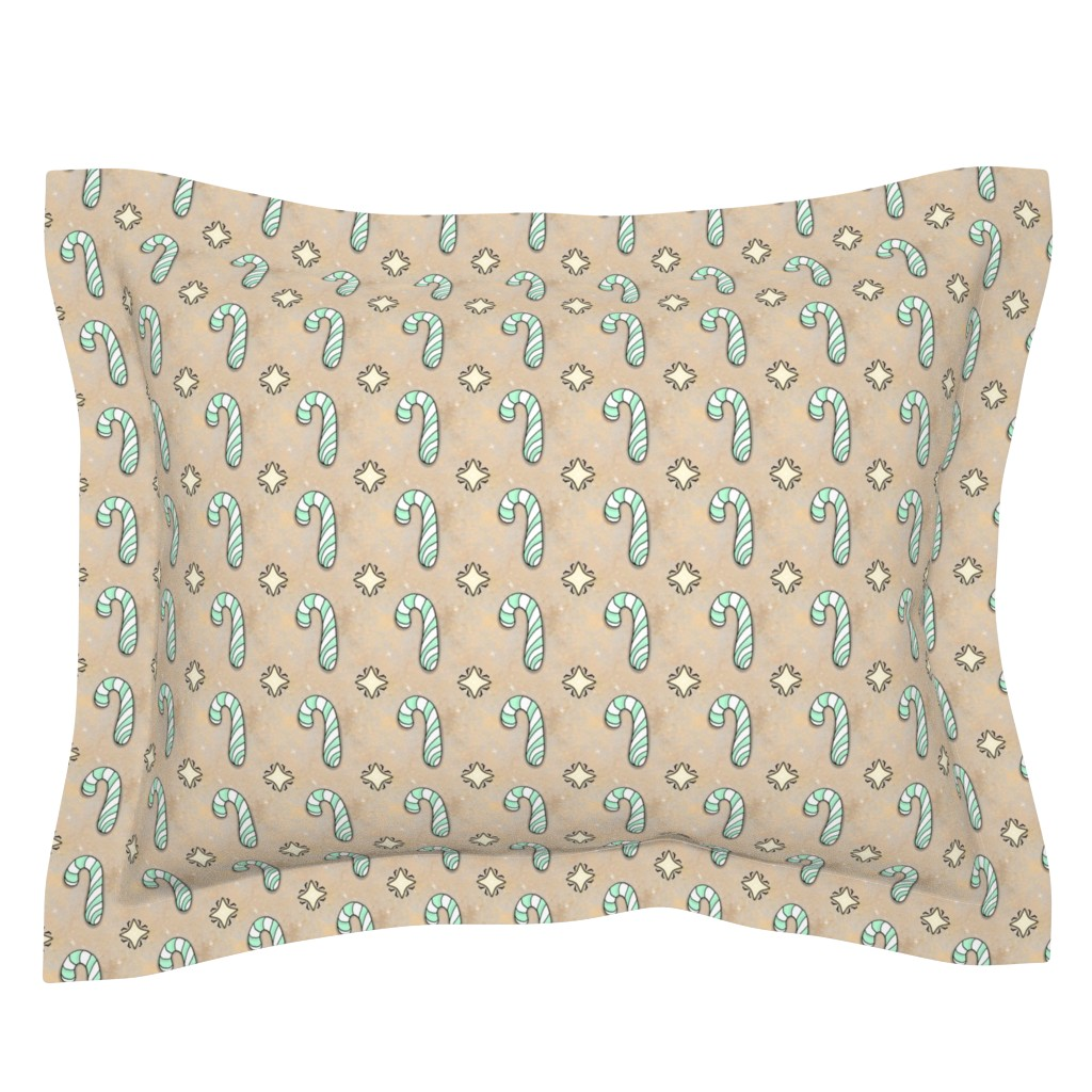 Sebright Pillow Sham featuring Christmas Candy Cane   Spearmint   Project 835.2  by bohobear