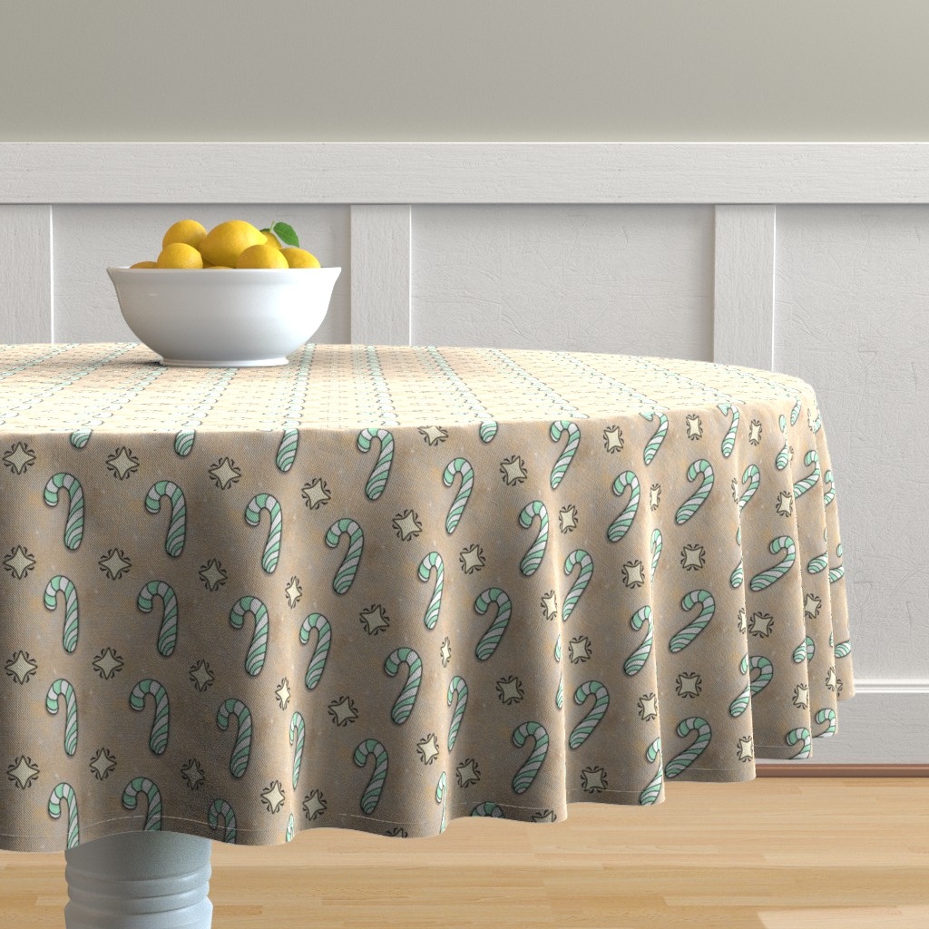 Malay Round Tablecloth featuring Christmas Candy Cane | Spearmint | Project 835.2  by bohobear