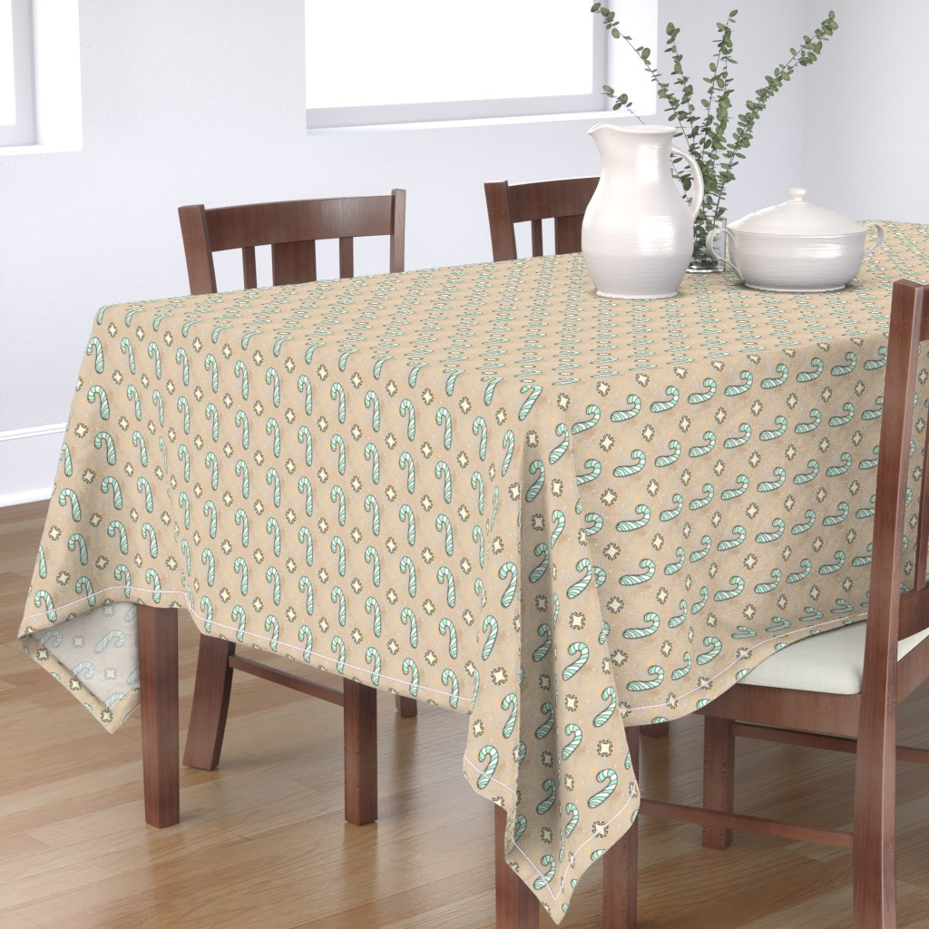 Bantam Rectangular Tablecloth featuring Christmas Candy Cane | Spearmint | Project 835.2  by bohobear