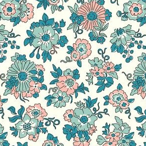 Bouquets teal blue with outlines