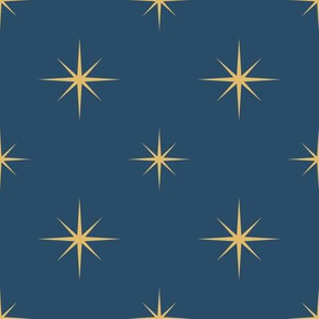 Gold Stars on Blue