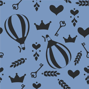 Balloons with Crowns, Hearts and Keys in Stone Blue & Black