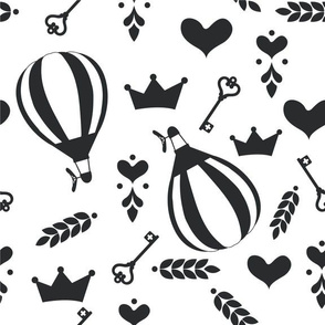 Balloons with Crowns, Hearts and Keys in Black and White