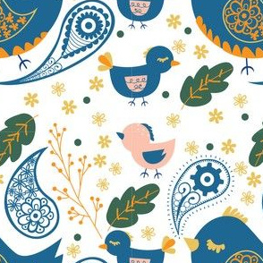 Birds and Paisleys in Blue, White and Orange