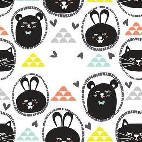 Cuties - Cat, Rabbit and Bear with Hearts and Hills in Black & White