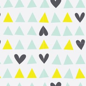 Love Triangle - Hearts and Triangles in Mint Green, Yellow and White
