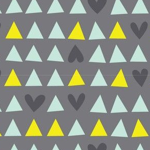 Love Triangle - Hearts and Triangles in Gray, Mint Green and Yellow