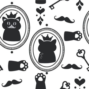 Cats with Crowns, Mustache and Keys in Black and White.