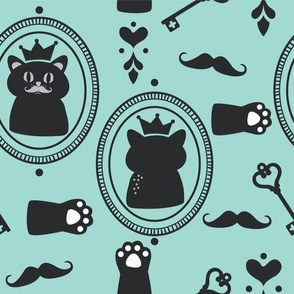 Cats with Crowns and Mustache in Turquoise and Black