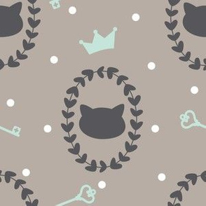 """6"""" Miao-Cats with Crowns, Hearts and Keys in Warm Gray and Mint Green"""