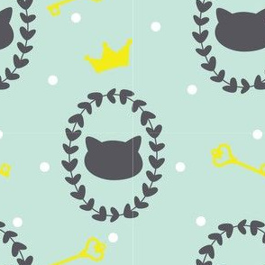Miao- Cats with Crown , Hearts and Keys in Gray, Yellow and Mint Green