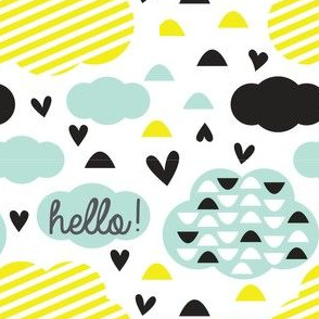 Quirkidoo-Clouds with Stripes, Hearts and Hello in White, Yellow and Mint
