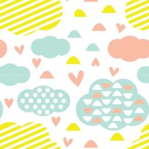 Quirkido-Clouds with Stripes, Hearts and Dots in Yellow, Mint and Pink