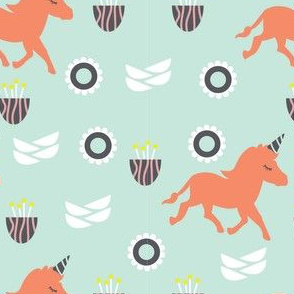 Unicorn  in Peach and Mint Green Background