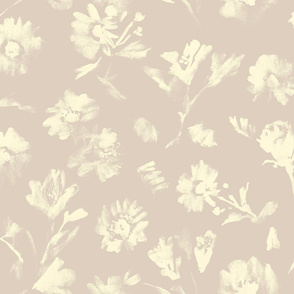Monochrome watercolor flowers ivory on puce