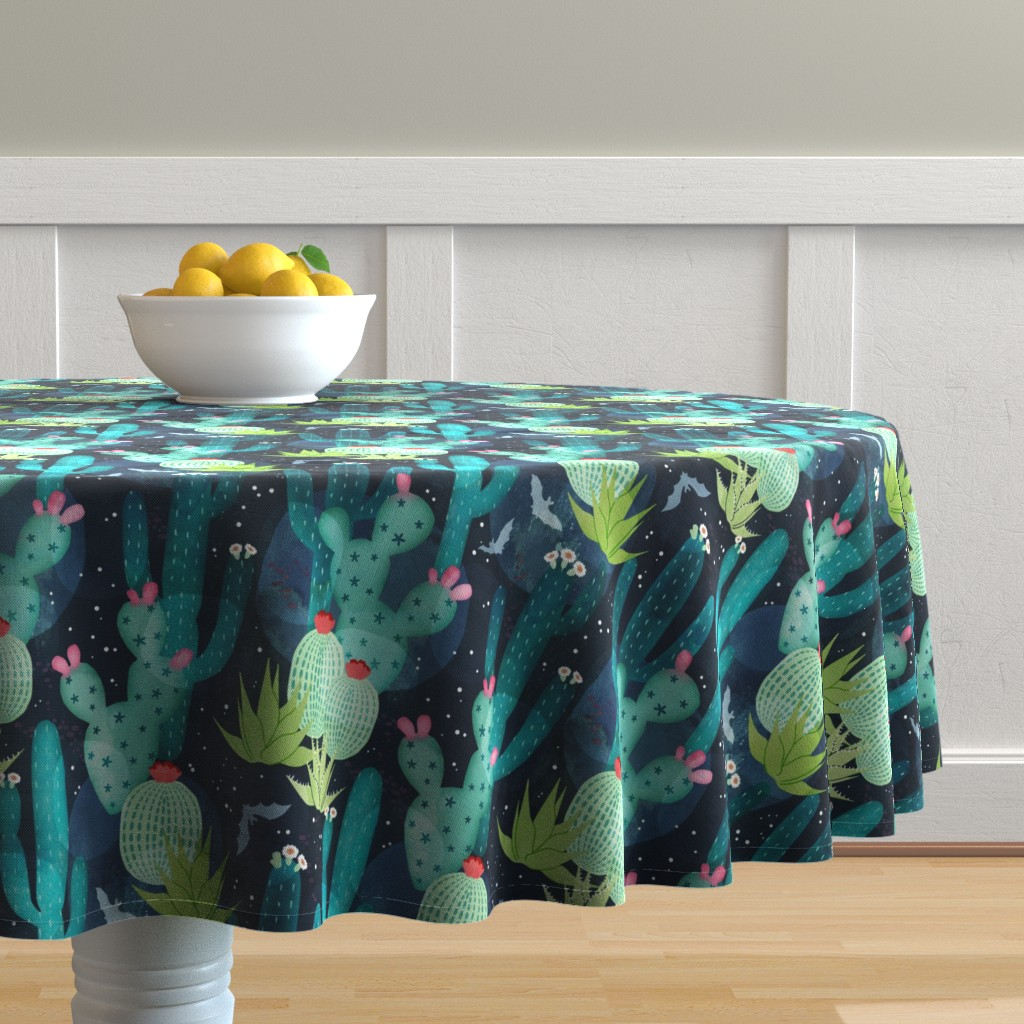 Malay Round Tablecloth featuring Desert at night by adenaj