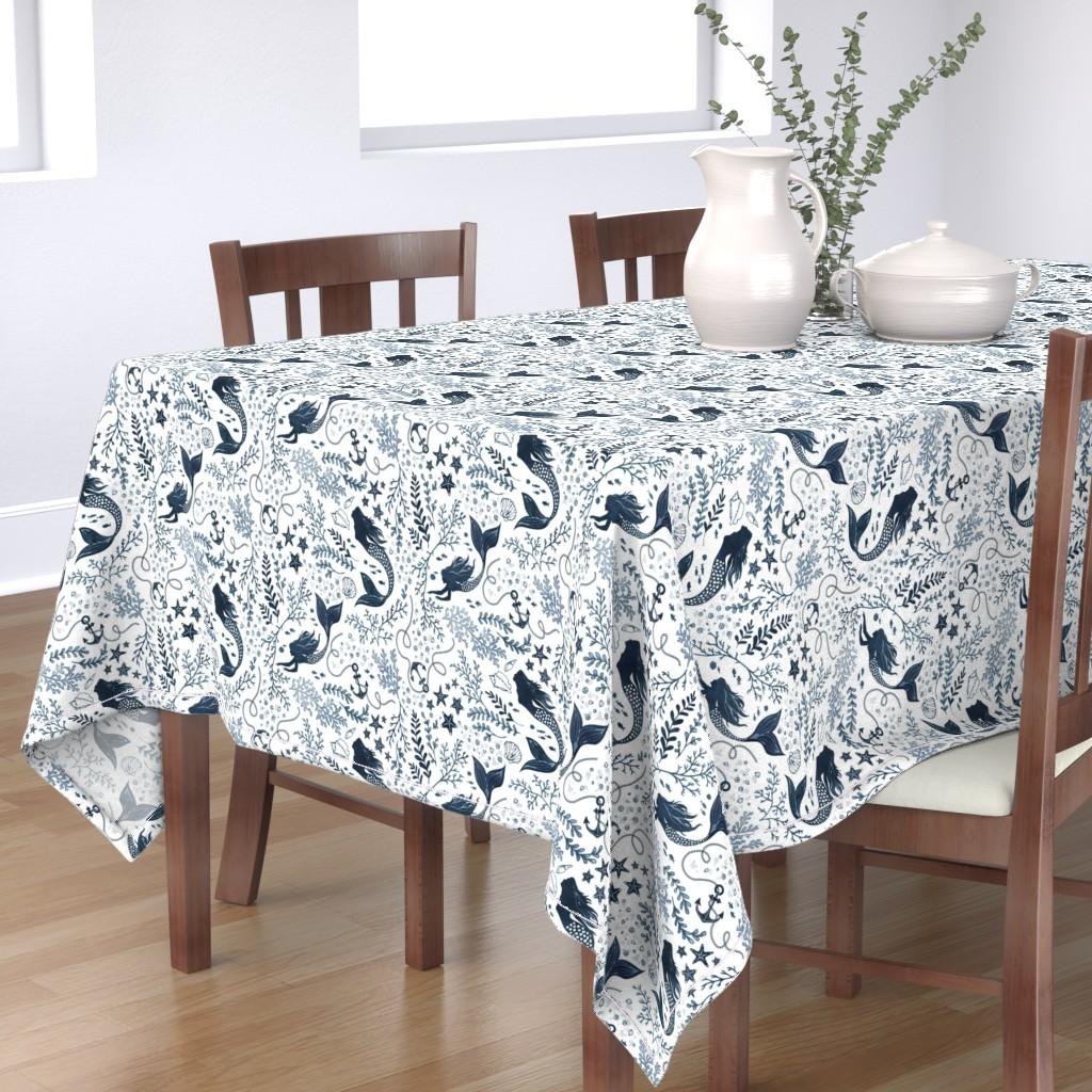 Bantam Rectangular Tablecloth featuring Mermaid ocean - blue by adenaj