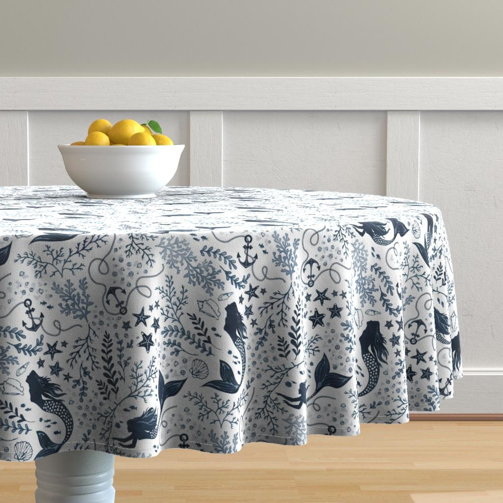 Malay Round Tablecloth featuring Mermaid ocean - blue by adenaj