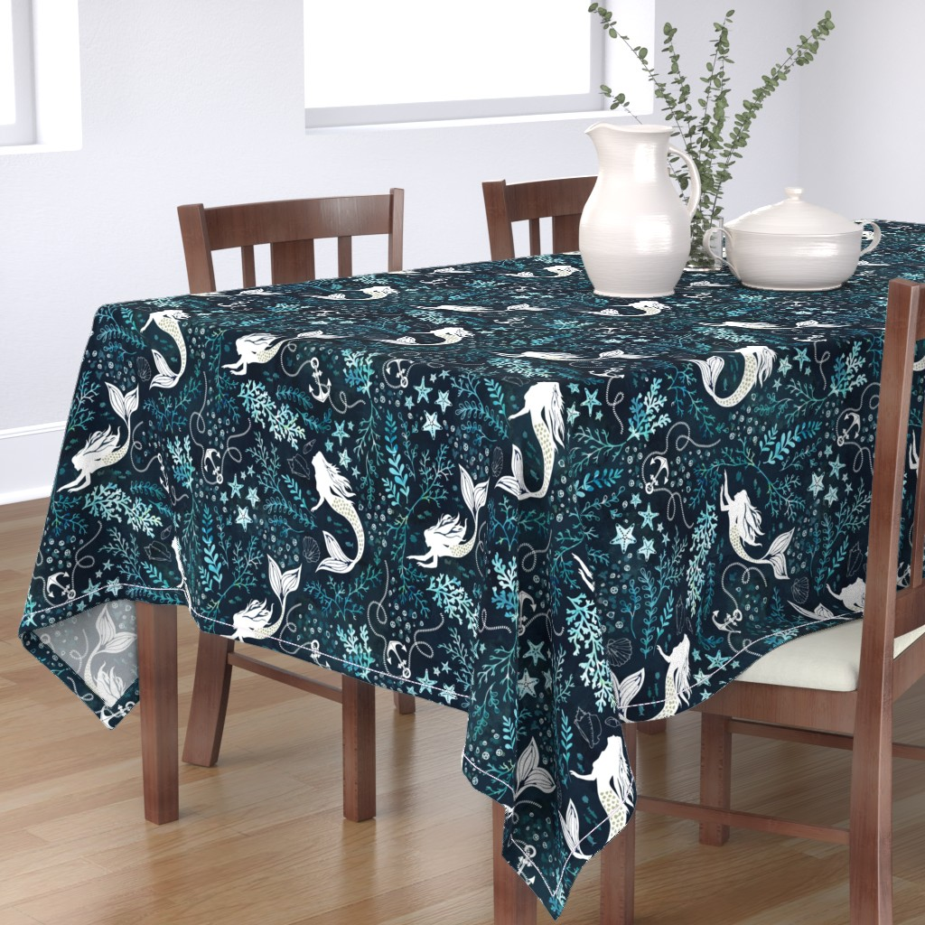 Bantam Rectangular Tablecloth featuring Mermaid ocean by adenaj