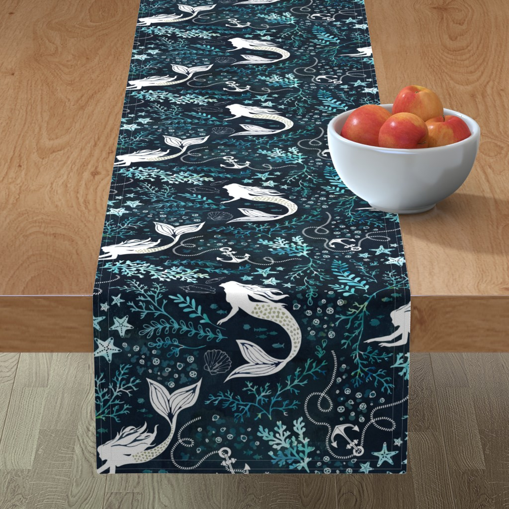 Minorca Table Runner featuring Mermaid ocean by adenaj